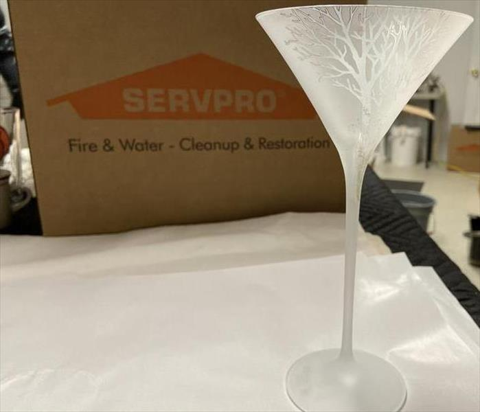 Frosted-white martini glass with etched tree design