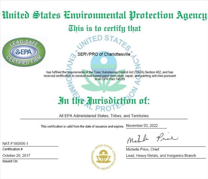 EPA Lead-Safe Certified Firm in Charlottesville | SERVPRO of ...