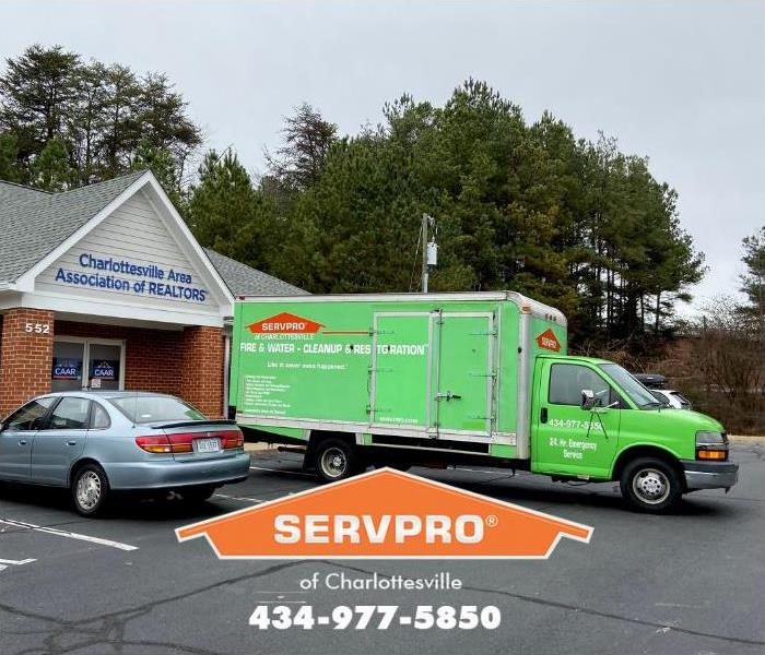 A SERVPRO of Charlottesville truck is shown responding to an emergency.